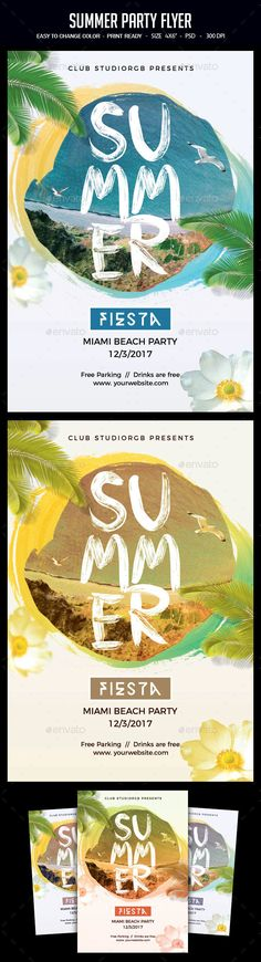 Summer Party Flyer #music #woman  • Download here → https://graphicriver.net/item/summer-party-flyer/20248571?ref=pxcr