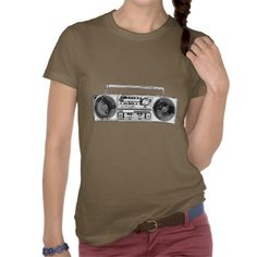 Vintage Radio Design Shirt - comes in many different styles and colours, both men's and lady's / women's (retro, line drawing, retro, awesome, hipster, cool, old, cassette player, black and white, brown, t-shirt, t-shirts, shirts, tee, tees, tshirts, photography)