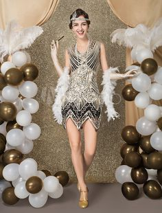 Gatsby party outfit - Flapper Dress Costume Vintage Costume Great Gatsby Women's Sequined Zigzag Cut Short Dress Halloween – Gatsby party outfit Great Gatsby Outfits, Great Gatsby Motto, 1920s Outfits, 1920s Fashion Dresses, Vestido Charleston, Charleston Costume, Charleston Dress, Costume Gatsby, Diy Flapper Costume