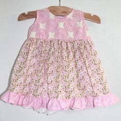 Baby Dress 3 Months Pretty Floral in Pinks and Greens by MyLilBaby