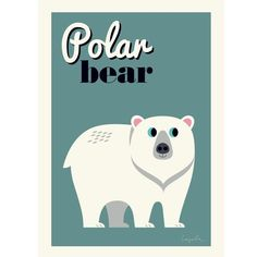 Omm Design Ingela Arrhenius Polar Bear Poster: Ingela Arrhenius never fails to entertain with her quirky illustrations. Just pop the Polar Bear print in a frame and add a little Scandi design to your little ones wall.