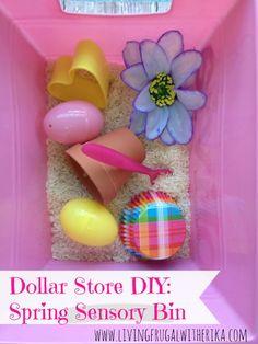 Dollar Store DIY: Spring Sensory Bin
