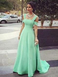 Long Prom Dress A-line Simple Straps Green Cheap Prom Dress # VB1336