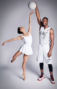 Miami City Ballet's Patricia Delgado and Miami Heat's Dwyane Wade