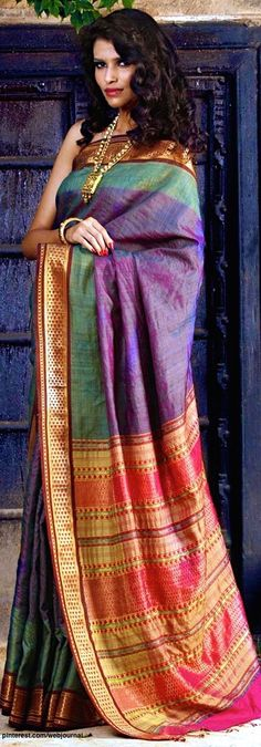 Beautiful #Sarees by Pranavi Kapur @ @indianroots http://www.indianroots.in/pranavi-kapur-sarees Here: Pure tussar silk with zari embellished border, handcrafted in India.