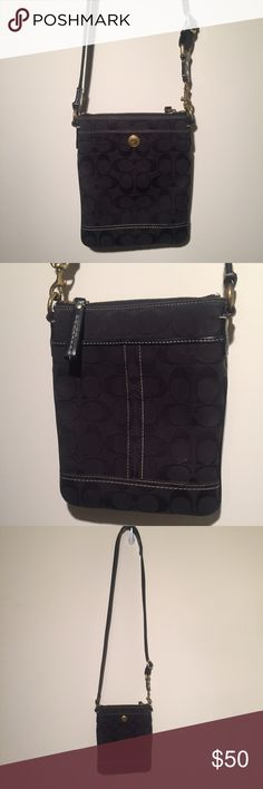 Crossbody Coach Bag Black Crossbody Coach Bag. Gently used in great condition. A few small imperfections on back side as seen in last photo. Hardly visible to the naked eye! Approx 6.5 x 8.5 x  .5''. Coach Bags Crossbody Bags