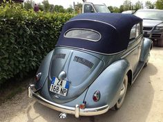 Giancarlo Prandelli, from Desentis, Switzerland. His two VW Beetle Cabriolets, a 1953 Strato Silver Metallic and a 1958 Turkish Green. Volkswagen Bus, Vw Camper, Volkswagen Convertible, Vw Cabriolet, Beetle Car, Car Accessories For Girls, Engin, Vw Cars, Vw Beetles