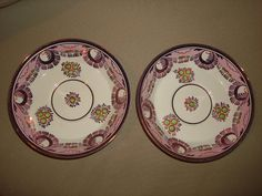 PAIR Antique PINK Luster ware Deep Saucers  by PastPossessionsOnly, $14.95