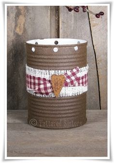 Homespun Crafts to Make | Grungy Rusty Tin Luminary | Tattered Sisters Primitives