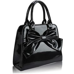 Patent Bow Tote Bag ($49) ❤ liked on Polyvore