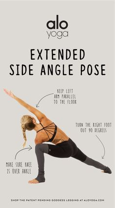 Perfect your Extended Side Angle Pose with with these tips for stronger alignment! #aloyoga #beagoddess