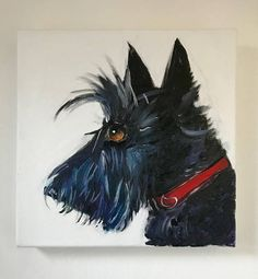 Scottie Dog Original Oil Painting on fine quality, 380gsm box canvas acrylic lacquer treated for protection Size 10x10 inches UK shipping special delivery Worldwide shipping tracked and signed
