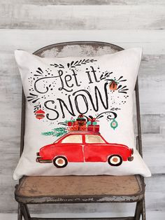 Pillow Cover Holiday Decor Red Car with Christmas by JolieMarche