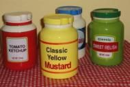 Retro classic looking and colorful set of condiment servers