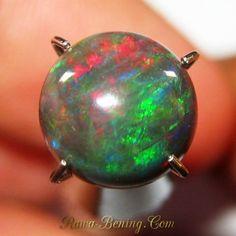 Batu Mulia Natural Black opal bentuk round cabochon luster neon green dengan cahaya cukup dan luster berwarna hijau, merah dan biru pada intensitas cahaya terang berukuran 7.5mm ~ 7.5mm x tebal 3.5mm, berat 1.25 carat.