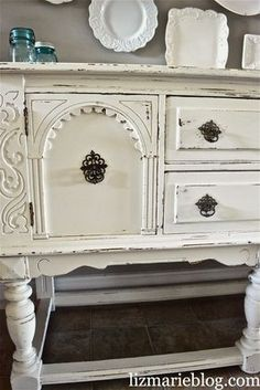 Shabby Chic Chalk Painted Buffet - post has chalk paint recipe and how she easily updated this awesome buffet with paint. White painted furniture.