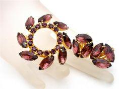 Vintage Rhinestone Purple Demi Set Brooch Earrings Round Amethyst Gold Tone | eBay