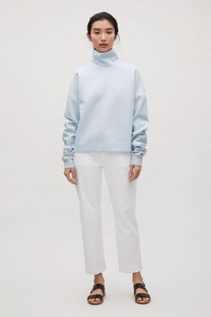 COS image 1 of Oversized high-neck sweatshirt in Pale Blue
