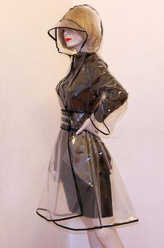 PVC Plastic Transparent Trench Raincoat dress Vinyl Coat Clear PU with Black Trim