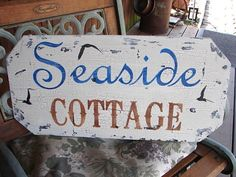 SEASIDE Cottage Vintage Beach Signs Home Decoration by familyattic
