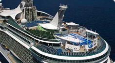 Royal Caribbean Adventure of The Seas cruise ship arial view