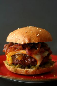 Fig glazed Burgers with Onion Jam.. I would substitute the beef for ground lamb