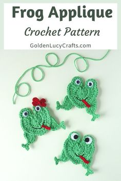 This crochet Frog applique pattern is my next heart-shaped design. The body of this frog is made in the shape of a heart! Crochet Frog, Cute Crochet, Crochet Motif, Crochet Designs, Crochet Crafts, Crochet Projects, Crochet Patterns, Crochet Appliques, Crotchet