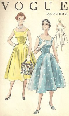 Vintage 1950s Vogue Cocktail Dress Pattern, Princess Seams, Full Skirt, 50s New Look, Vogue 8328 by MaisonMignot on Etsy