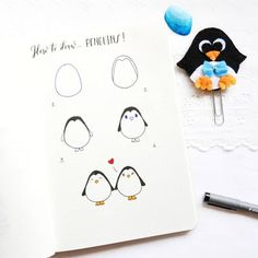 My sweet made me notice I haven't done the penguins for the sea-animals serie! How could I forget about them? Bullet Journal Art, Bullet Journal Ideas Pages, Bullet Journal Inspiration, Doodle Inspiration, Doodle Drawings, Easy Drawings, Doodle Art, Colorful Drawings, Simple Cute Drawings