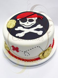 Fancy Cakes, Cute Cakes, Pirate Birthday Cake, Pirate Cakes, 4th Birthday, Joint Birthday Parties, Birthday Cakes, Party Deco, Occasion Cakes