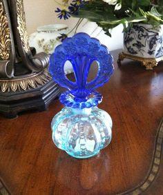 Fenton Aqua and Cobalt Beaded Melon Perfume Bottle by FrannieBee