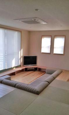 Home Room Design, Dream Home Design, Modern House Design, Interior Design Living Room, Living Room Designs, Sunken Living Room, Home Living Room, Home Cinema Room, Casa Patio