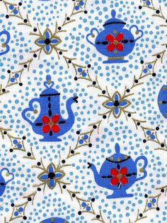 vintage fabric - teapots | Flickr - Photo Sharing!