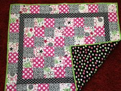 Bright Stylish Pink Black Green Baby Quilt