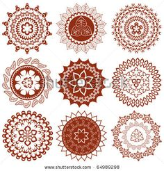Henna Tattoo Designs and Meanings | Mehndi Mandalas Elements (Henna Tattoo Designs) Stock Vector 64989298 ...