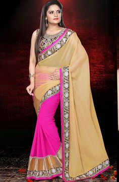 USD 74.96 Beige and Pink Lace Work Half N Half Party Wear Saree 40249