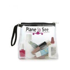 """Trendy Cool """"Plane to See"""" TSA Compliant Clear Travel Size Toiletries Bottles Carry On Cosmetics Zippered Bag Case"""
