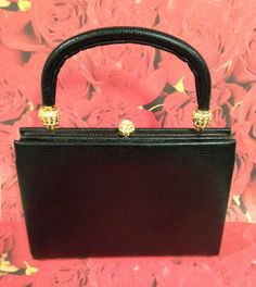 Vintage Black Leather Purse French Black Pebble by DartmouthHill