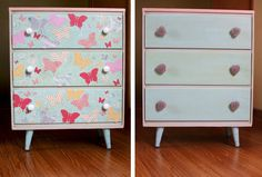 Upcycling a Dresser Front with Butterflies:  Patterned paper, mod podge, varnish, foam brush, white acrylic paint, fine brush.