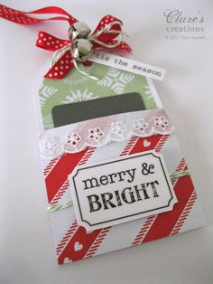 SRM Stickers - @Clare Buswell created this beautiful gift card holder using SRM's Sticker Sentiments Happy Holidays sheet.