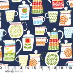 Put A Lid On It Nite from the Kitchen Collection fabric collection from Michael Miller Fabrics. Tissu Michael Miller, Michael Miller Fabric, Kitchen Fabric, Kitchen Prints, Kitchen Curtains, Fabric Design, Pattern Design, Pattern Art, Decoupage