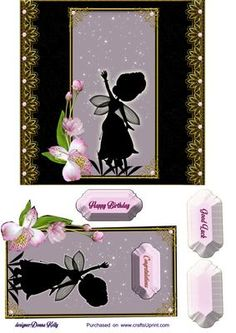 silhouette fairy card front on Craftsuprint designed by Donna Kelly - approx 6x6 floral and fairy card front includes 3 tags, one blank, used for birthday, congratulations, and good luck - Now available for download!