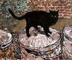 Ruskin Spear is a well-known portrait painter, people in pubs and cats populate his works. One of the cats must have been his own, Trixie. Using broad brush Black Cat Art, Black Cats, Son Chat, Lots Of Cats, Cat Drawing, Cool Cats, Cats And Kittens, Images, Drawings