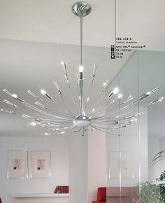 Cyrano Chandelier. Hand-made in Vienna (Austria) with the finest materials, the Cyrano series from Kolarz is crafted to the highest standards. The combination of brilliant, Low-Voltage halogen lights along with Swarovski crystals create a stunning light effect that makes any place sparkle.  #Modernlighting #chandeliers