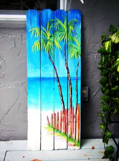 Tropical Art Painting on Beach fence by Dani Sherman.maybe some beach art on a panel of the fence for a lawn project. Pallet Painting, Pallet Art, Painting On Wood, Fence Painting, Graffiti Painting, Deco Surf, Tropical Art, Tropical Paintings, Beach Paintings