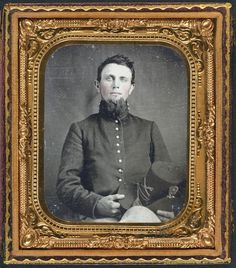 Unidentified soldier in Union uniform holding Hardee hat -- Liljenquist Family Collection of Civil War Photographs; Ambrotype/Tintype photograph filing series; Library of Congress