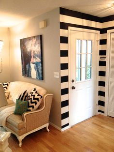 A Striking Entryway Makeover   The Guide To A Fabulous Life - stripes!