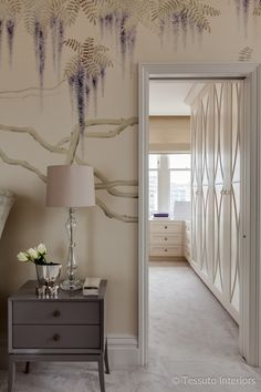 Tessuto Interiors Luxury Traditional Master Bedroom Dressing Room Bespoke Joinery Wallpaper DeGournay