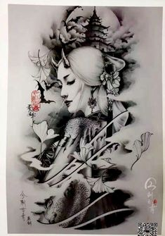 Dragon Head Tattoo, Demon Tattoo, Samurai Tattoo, Geisha Tattoos, Geisha Tattoo Design, Japanese Tattoo Art, Japanese Tattoo Designs, Japanese Art, Girl Face Tattoo