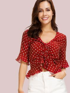 White Red Polka Dot Ruffled Hem Crop Blouse